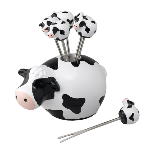 Gourmet Art 6-Piece Cow Resin Cocktail Pick with Holder