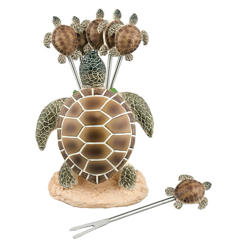 Gourmet Art 6-Piece Turtle Resin Cocktail Pick with Holder