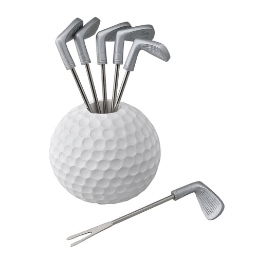 Gourmet Art 6-Piece Golf Resin Cocktail Pick with Holder