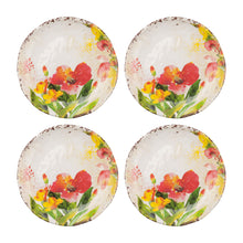 "Load image into Gallery viewer, Gourmet Art 4-Piece Tropical Hibiscus Melamine 6"" Plate"