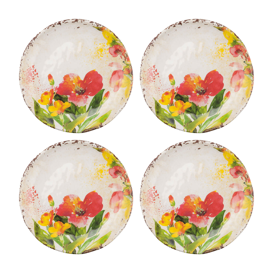Gourmet Art 4-Piece Tropical Hibiscus Melamine 6