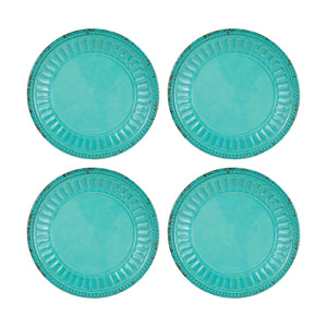 "Gourmet Art 4-Piece Chateau Melamine 6"" Plate, Turquoise"