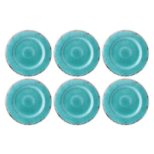 "Load image into Gallery viewer, Gourmet Art 6-Piece Crackle Melamine 11"" Plate, Turquoise"