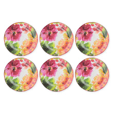 "Load image into Gallery viewer, Gourmet Art 6-Piece Pink Floral Melamine 11"" Plate"