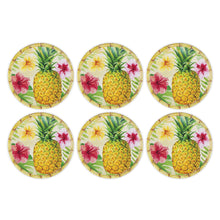 "Load image into Gallery viewer, Gourmet Art 6-Piece Bamboo Pineapple Melamine 9"" Plate"