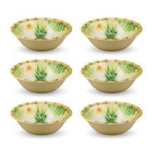 "Load image into Gallery viewer, Gourmet Art 6-Piece Bamboo Pineapple Melamine 7 1/2"" Bowl"