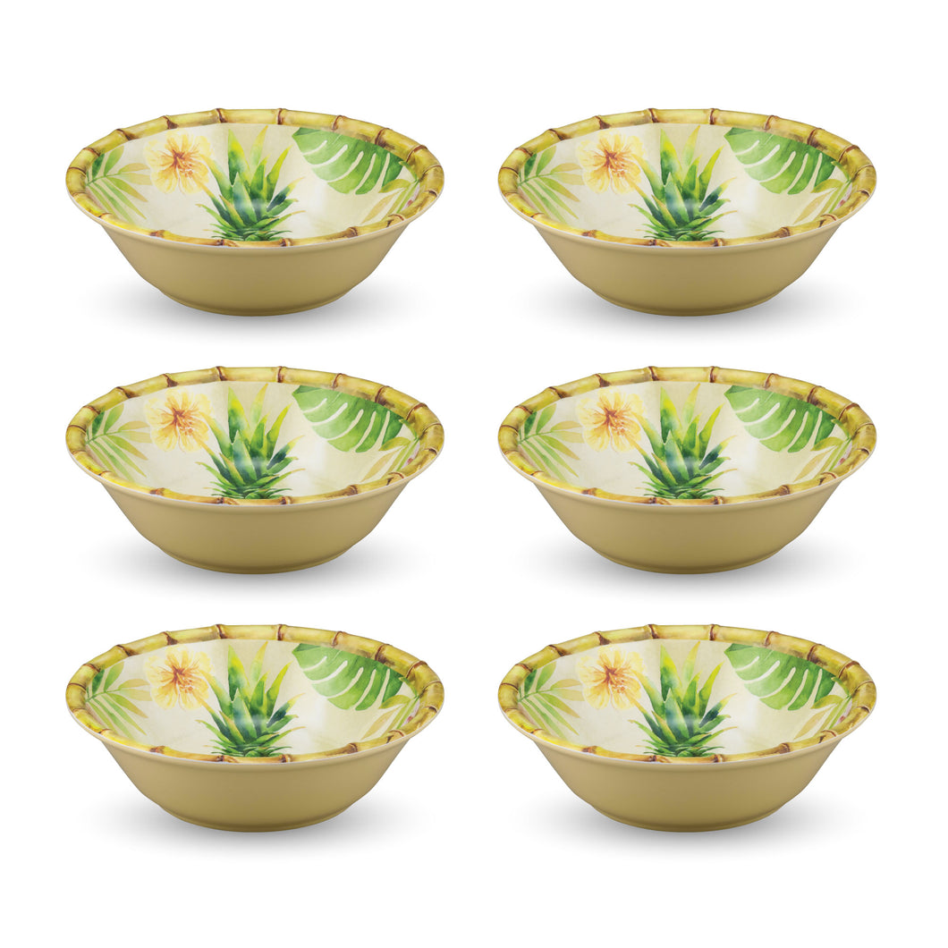 Gourmet Art 6-Piece Bamboo Pineapple Melamine 7 1/2