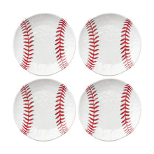 "Load image into Gallery viewer, Gourmet Art 4-Piece Baseball Melamine 6"" Plate"