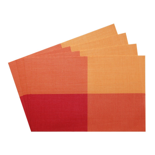 Gourmet Art 4-Piece PVC Placemat, Orange Check