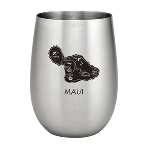 Supreme Stainless Steel Maui Island Map 20 oz. Stemless Wine Glass