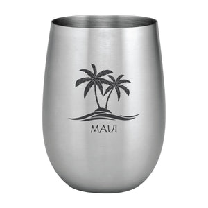 Supreme Stainless Steel Maui Palm Trees 20 oz. Stemless Wine Glass