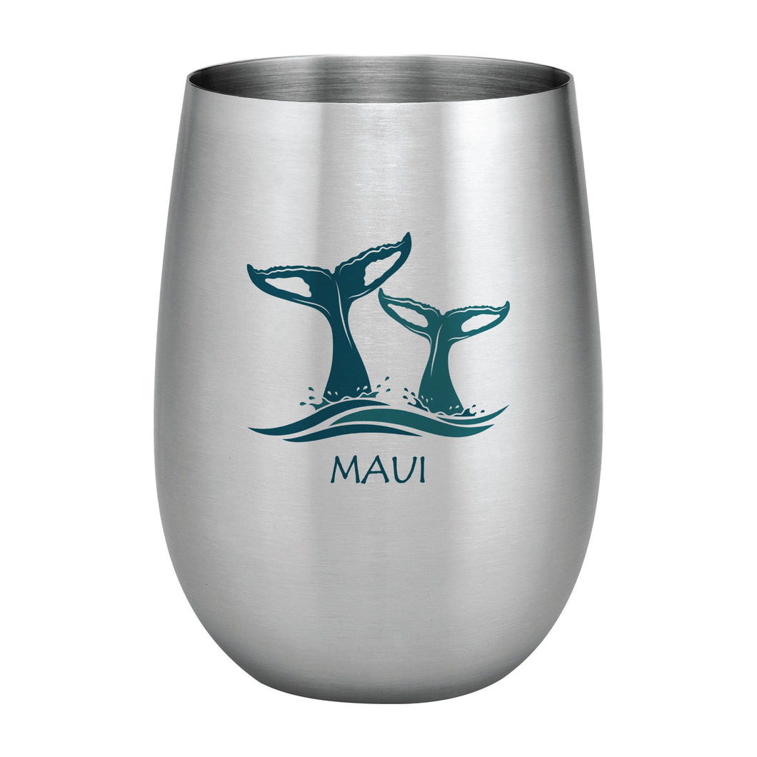 Supreme Stainless Steel Maui Whale Tails 20 oz. Stemless Wine Glass Blue