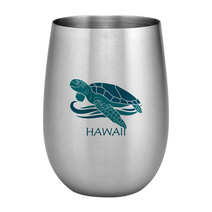 Supreme Stainless Steel Hawaii Honu Sea Turtle 20 oz. Stemless Wine Glass Blue