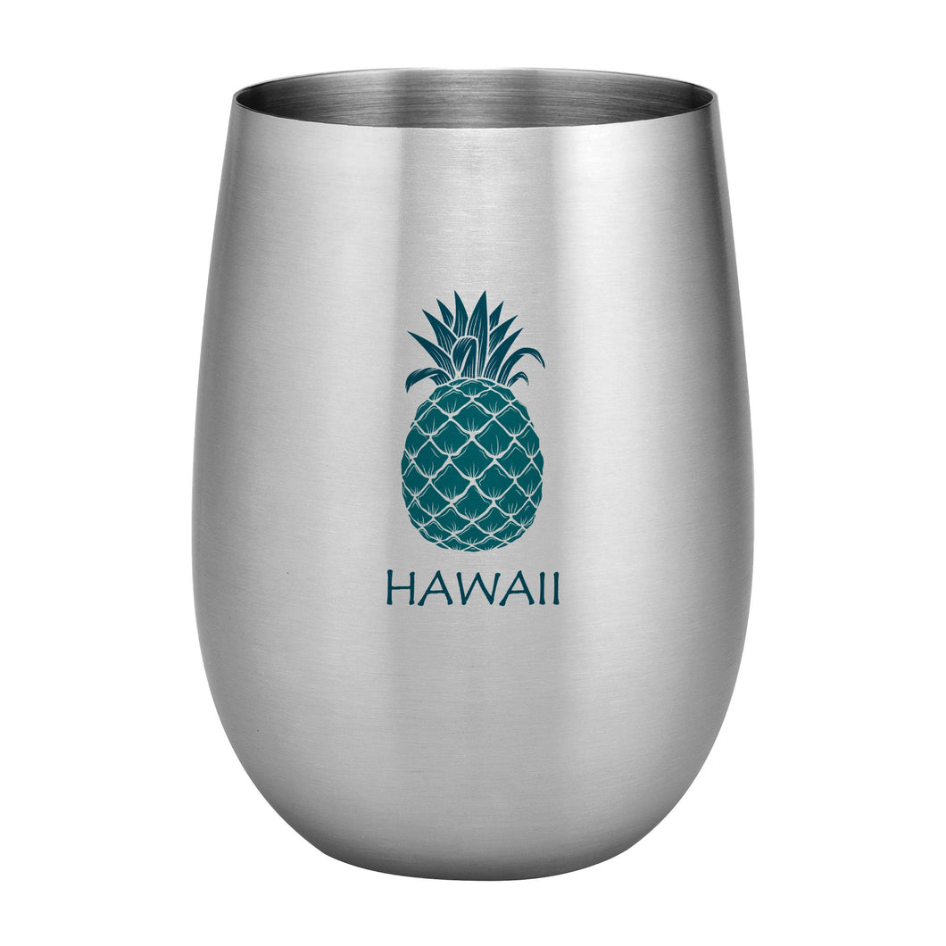 Supreme Stainless Steel Hawaii Tropical Pineapple 20 oz. Stemless Wine Glass Blue
