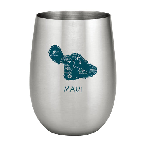 Supreme Stainless Steel Maui Island 20 oz. Stemless Wine Glass, Blue