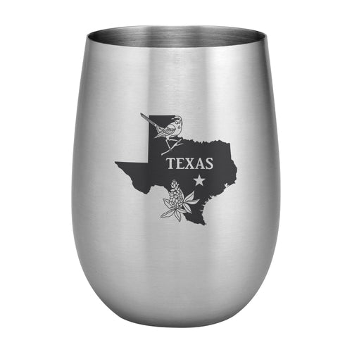 Supreme Stainless Steel Texas with State Bird 20 oz. Stemless Wine Glass