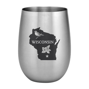 Supreme Stainless Steel Wisconsin with State Bird 20 oz. Stemless Wine Glass