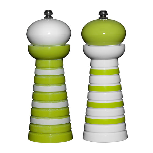 Gourmet Art 2-Piece Acrylic Pepper Mill, Green Stripes