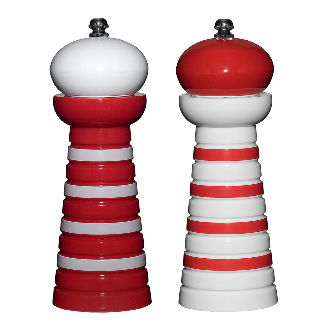 Gourmet Art 2-Piece Acrylic Pepper Mill, Red Stripes