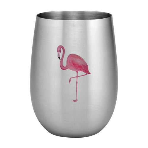Supreme Stainless Steel Flamingo 20 oz. Stemless Wine Glass