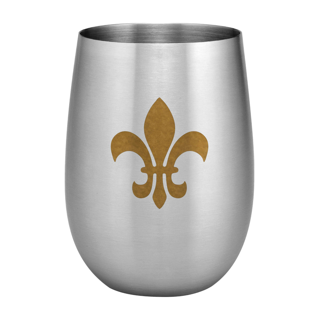 Supreme Stainless Steel Fleur-de-lis 20 oz. Stemless Wine Glass