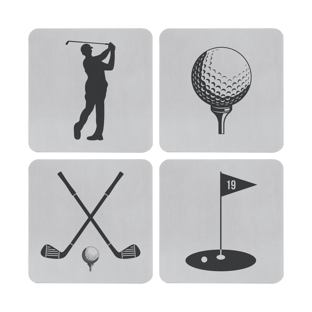 Supreme Stainless Steel 4-Piece Golf Coaster