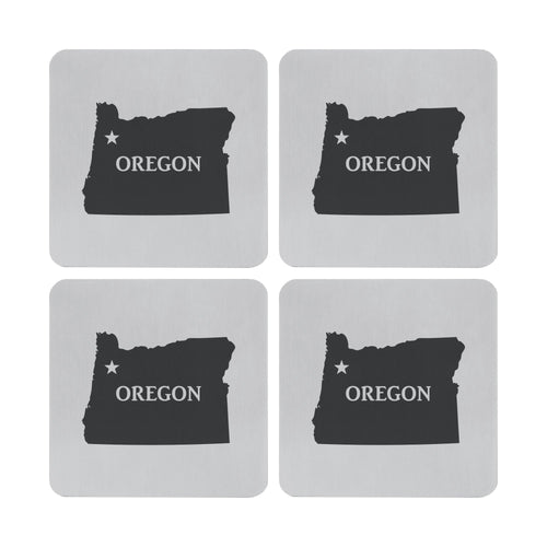 Supreme Stainless Steel 4-Piece Oregon Coaster