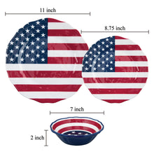 "Load image into Gallery viewer, Gourmet Art 6-Piece American Flag Melamine 8 3/4"" Plate"