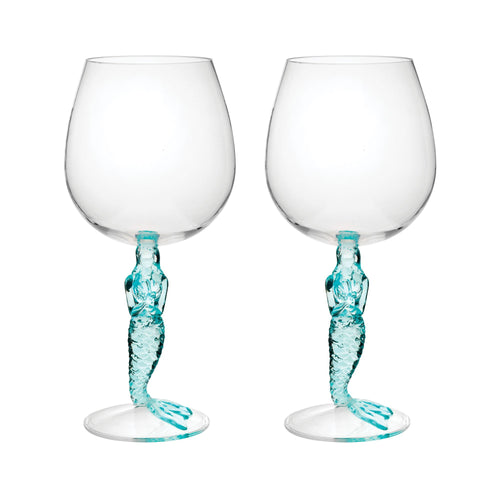 Gourmet Art 2-Piece Mermaid 17 oz. Acrylic Wine Glass