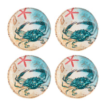Load image into Gallery viewer, Gourmet Art 4-Piece Sealife Crab Melamine 6 Plate