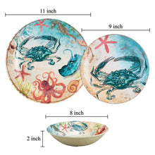 Load image into Gallery viewer, Gourmet Art 6-Piece Sealife Crab Melamine 9 Plate