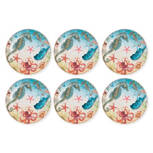 Load image into Gallery viewer, Gourmet Art 6-Piece Sealife Seahorse Melamine 11 Plate