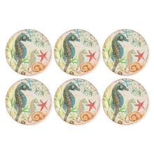 Load image into Gallery viewer, Gourmet Art 6-Piece Sealife Seahorse Melamine 9 Plate