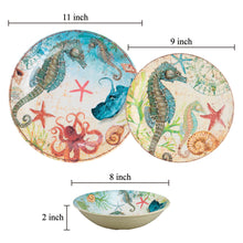 Load image into Gallery viewer, Gourmet Art 6-Piece Sealife Seahorse Melamine 8 Bowl
