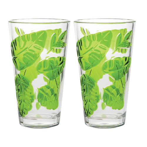 Gourmet Art 2-Piece Tropical Leaves Acrylic DOF Tumbler, 24 oz.
