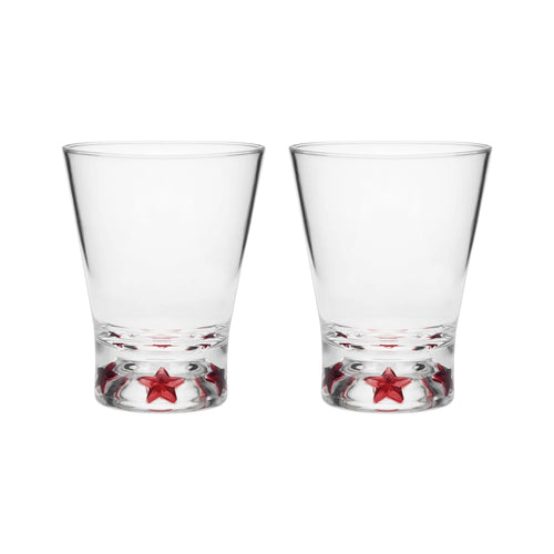 Gourmet Art 2-Piece Red Star Acrylic DOF Tumbler, 16 oz.