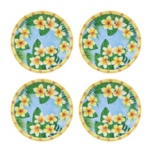 Load image into Gallery viewer, Gourmet Art 4-Piece Bamboo Plumeria Melamine 6 Plate