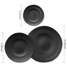"Load image into Gallery viewer, Gourmet Art 6-Piece Black Satin Melamine 10 7/8"" Round Plate"