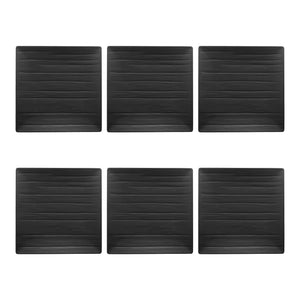 "Gourmet Art 6-Piece Black Satin Melamine 10 3/4"" Square Plate"