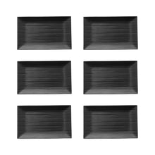 "Load image into Gallery viewer, Gourmet Art 6-Piece Black Satin Melamine 9 3/4"" Rectangular Plate"