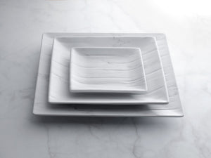 "Gourmet Art 6-Piece Marble Blanc Melamine 8 7/8"" Square Plate"