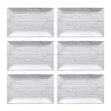 "Load image into Gallery viewer, Gourmet Art 6-Piece Marble Blanc Melamine 13 1/2"" Rectangular Plate"