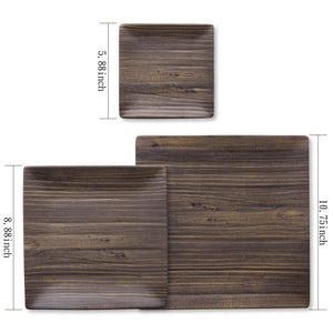 "Gourmet Art 6-Piece Natural Teak Melamine 10 3/4"" Square Plate"