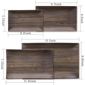 "Gourmet Art 6-Piece Natural Teak Melamine 8 1/4"" Rectangular Plate"