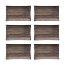 "Load image into Gallery viewer, Gourmet Art 6-Piece Natural Teak Melamine 11 1/4"" Rectangular Plate"