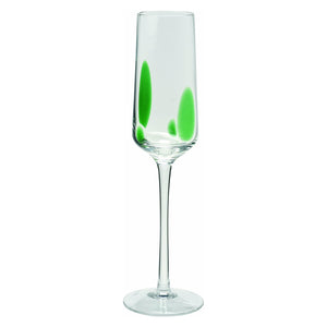 Wine Things 6-Piece Speckle Champagne Flute Green