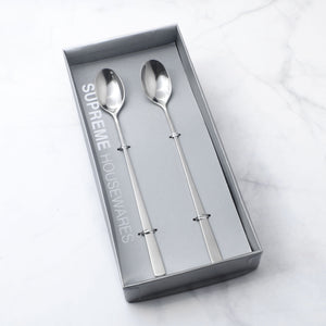 Supreme Stainless Steel 2-Piece Square Edge Ice Tea Spoon