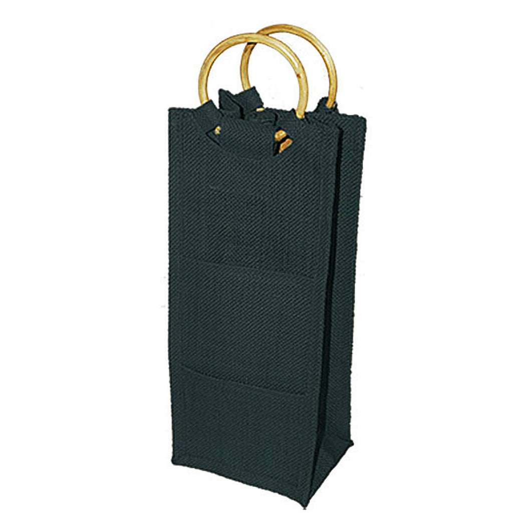 Drinkwear Tall Jute Wine Tote with Round Can Handle, Black