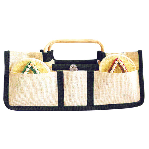 Drinkwear Horizontal Jute Wine Tote, Black