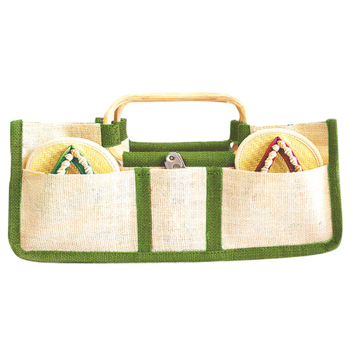 Drinkwear Horizontal Jute Wine Tote, Lime